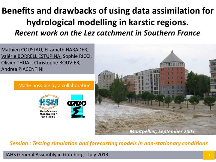 Benefits and drawbacks of using data assimilation for hydrological modelling in karstic regions.