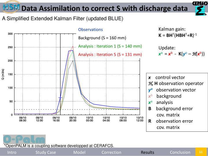 Data Assimilation to correct S with discharge data