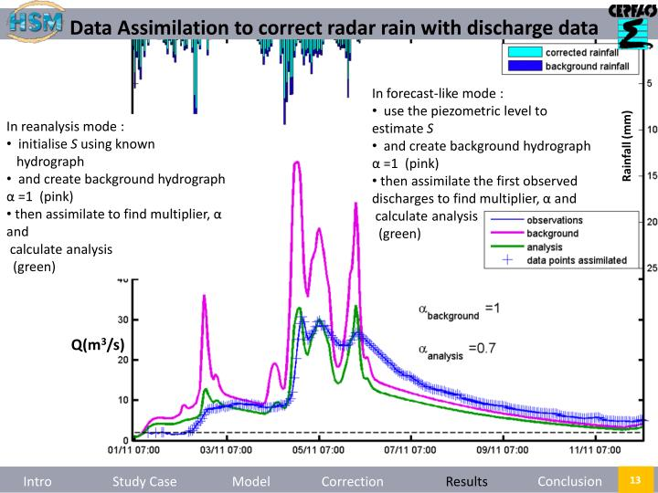 Data Assimilation to correct radar rain with discharge data