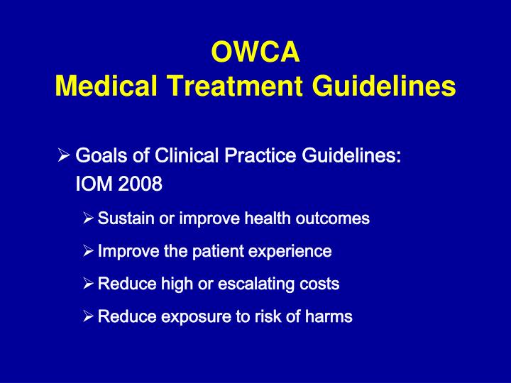 Owca medical treatment guidelines1