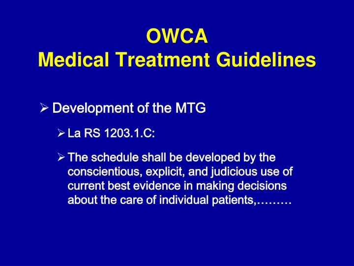 Owca medical treatment guidelines2