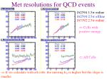 met resolutions for qcd events1