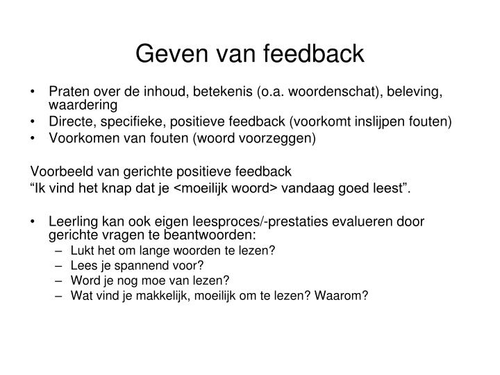 Geven van feedback