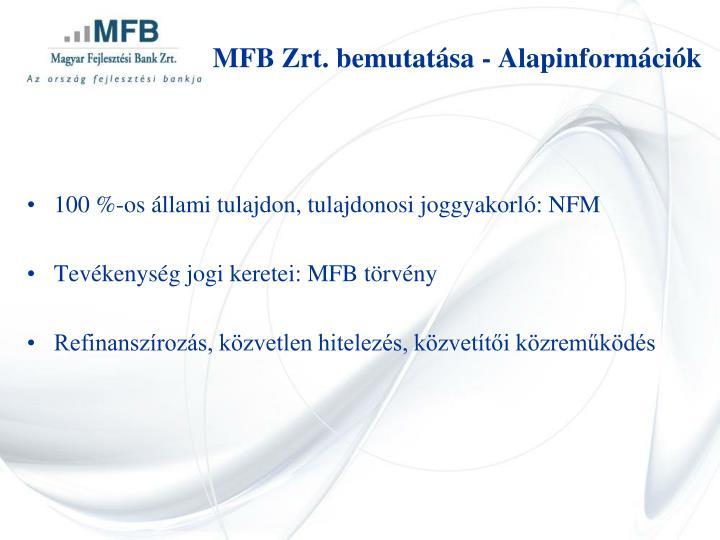 MFB Zrt. bemutatása - Alapinformációk
