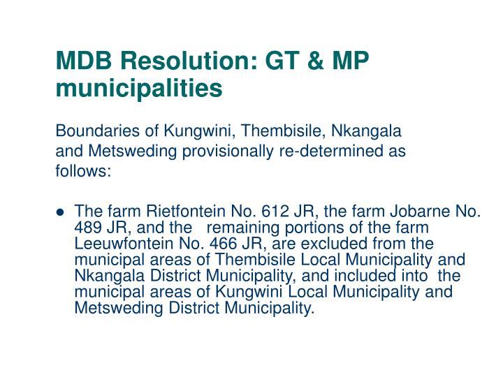 MDB Resolution: GT & MP municipalities