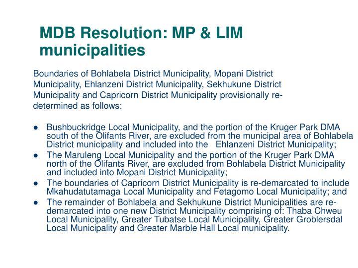 MDB Resolution: MP & LIM municipalities