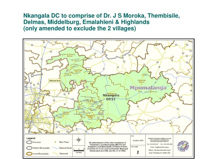 Nkangala DC to comprise of Dr. J S Moroka, Thembisile,