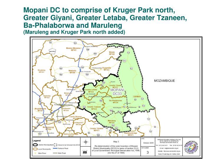 Mopani DC to comprise of Kruger Park north,