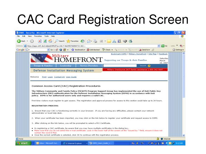 CAC Card Registration Screen