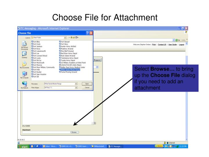 Choose File for Attachment