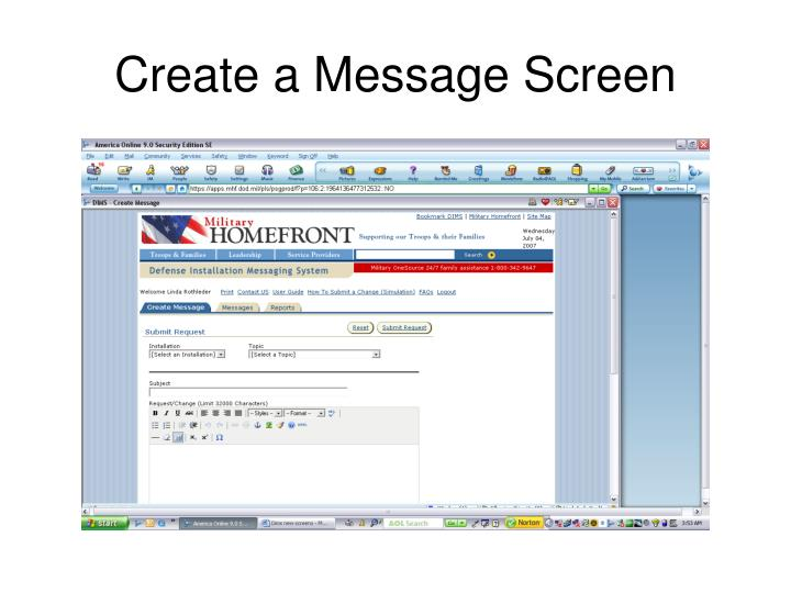 Create a Message Screen