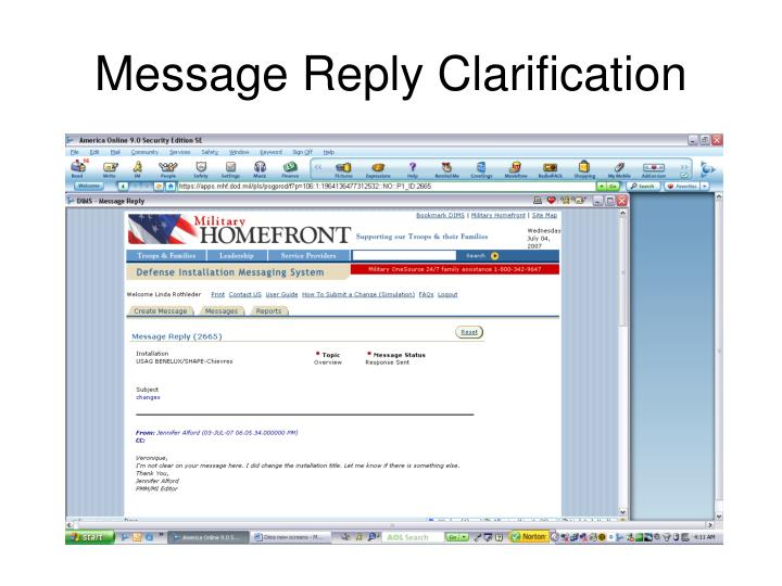 Message Reply Clarification