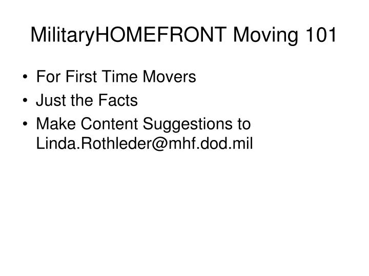 MilitaryHOMEFRONT Moving 101