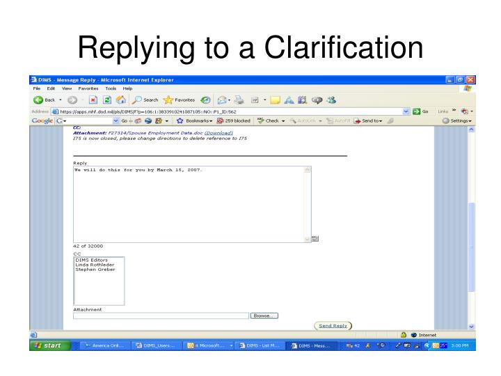 Replying to a Clarification