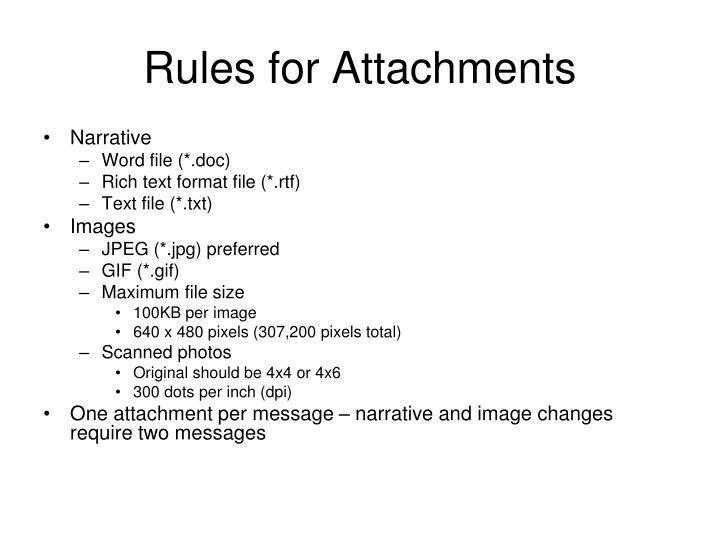 Rules for Attachments