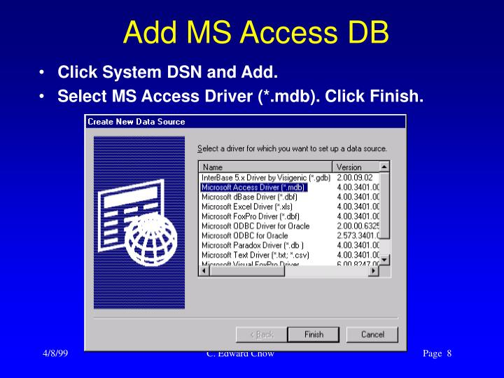 Add MS Access DB
