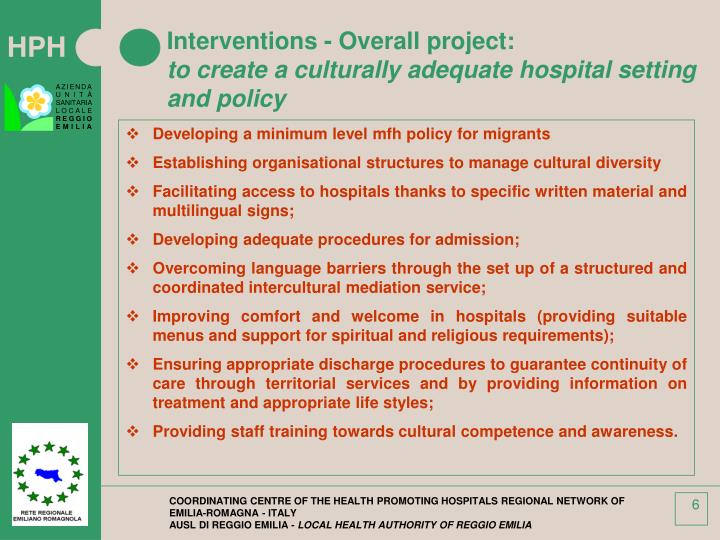 Interventions - Overall project: