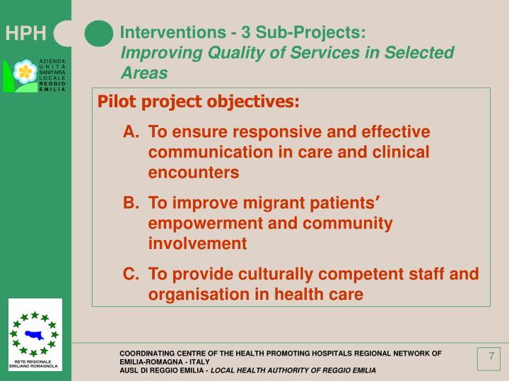 Interventions - 3 Sub-Projects: