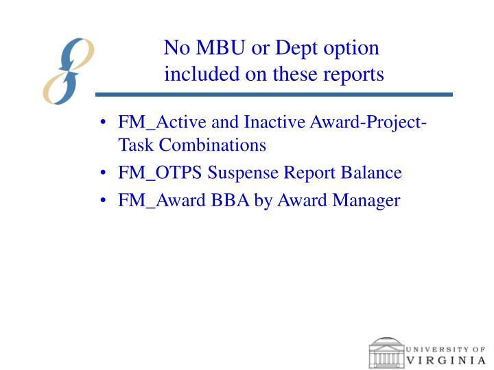 No MBU or Dept option