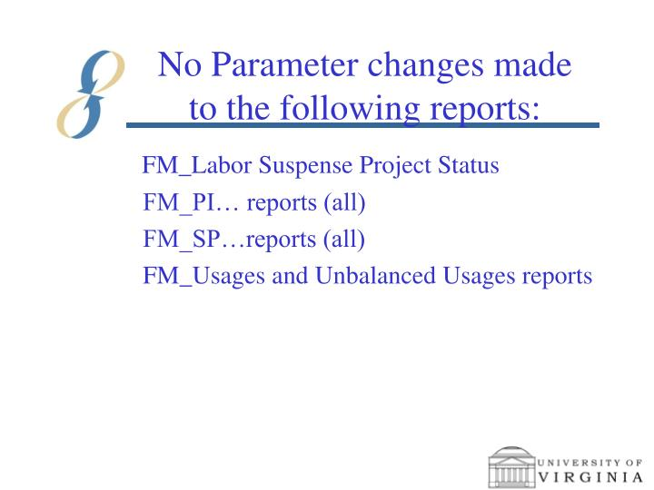 No Parameter changes made