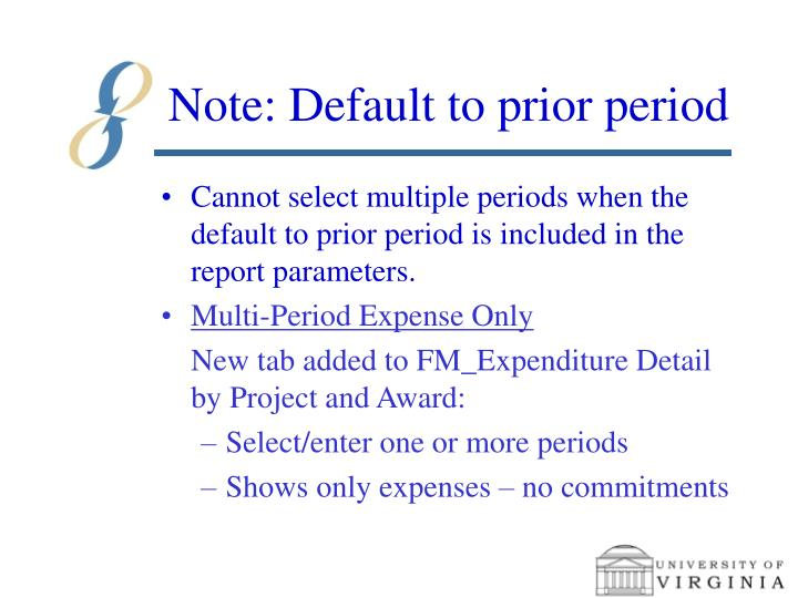 Note: Default to prior period