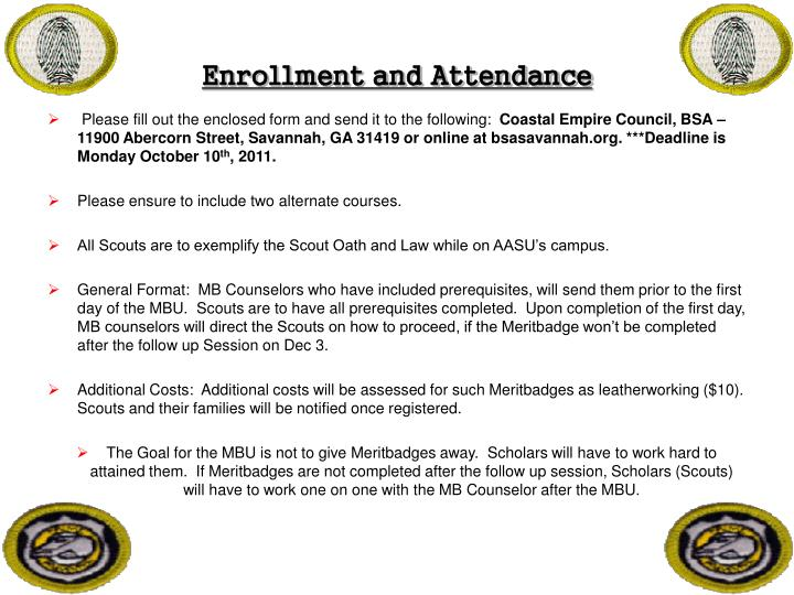 Enrollment and Attendance