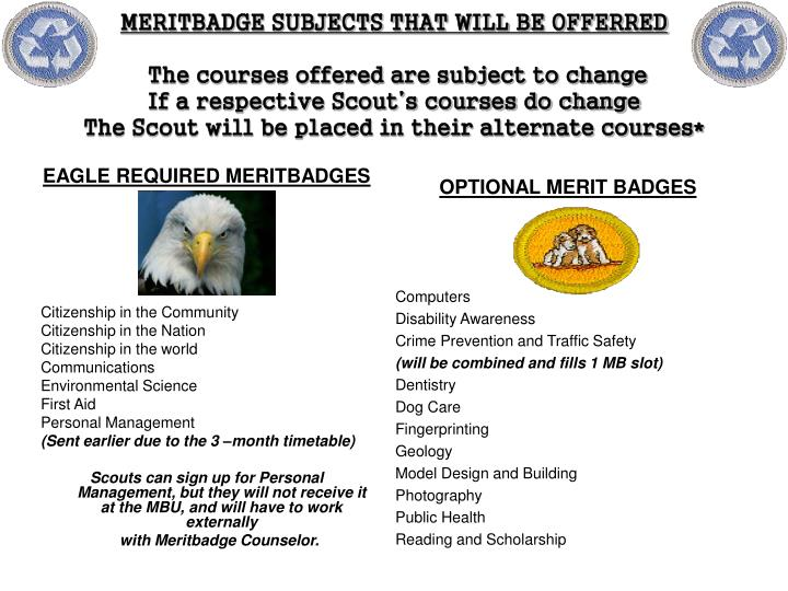 EAGLE REQUIRED MERITBADGES
