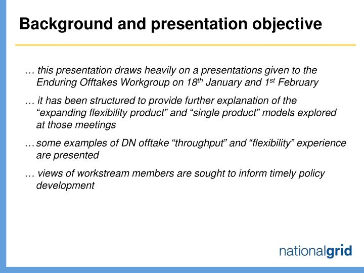 Background and presentation objective