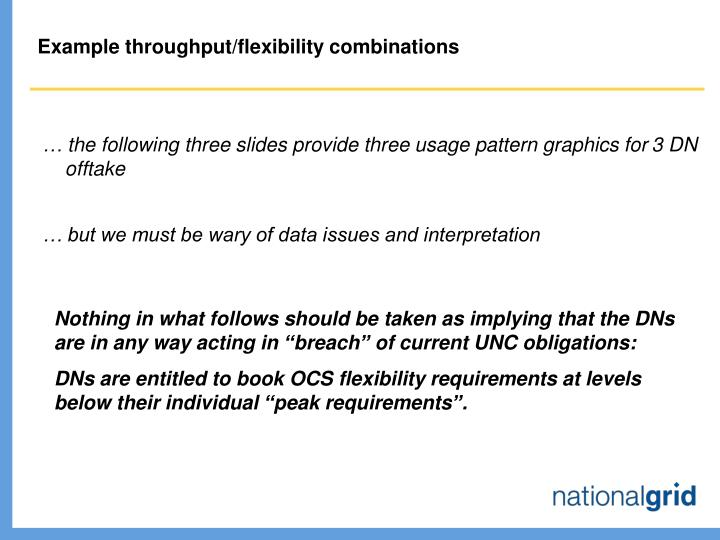 Example throughput/flexibility combinations