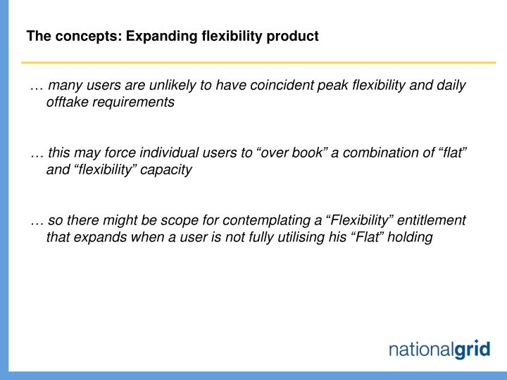 The concepts: Expanding flexibility product