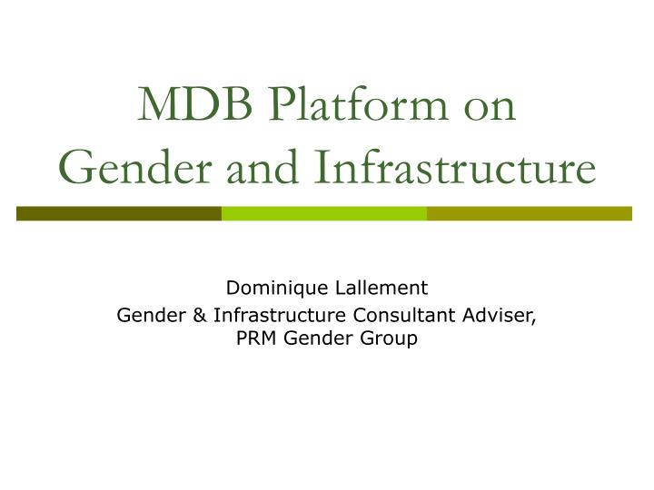 mdb platform on gender and infrastructure