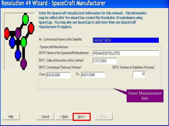Enter Manufacturer Info