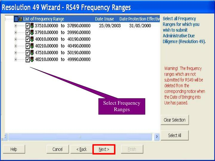 Select Frequency Ranges