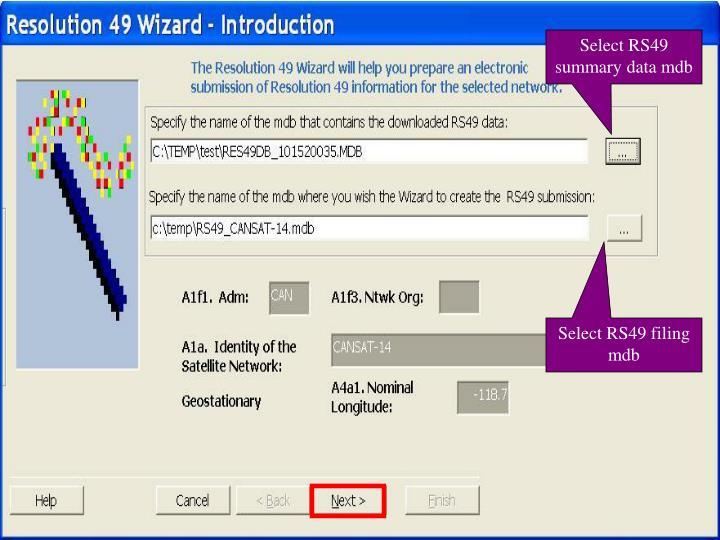 Select RS49 summary data mdb