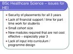 bsc healthcare science issues for hei