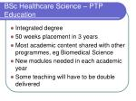 bsc healthcare science ptp education