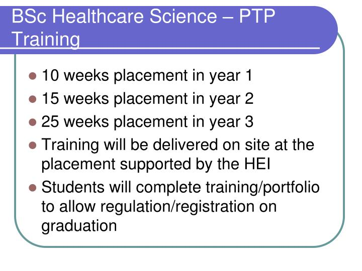 BSc Healthcare Science – PTP Training