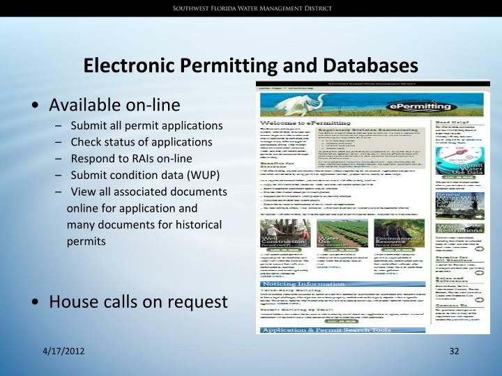 Electronic Permitting and Databases