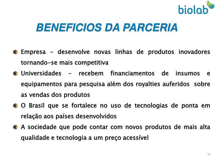 BENEFICIOS DA PARCERIA