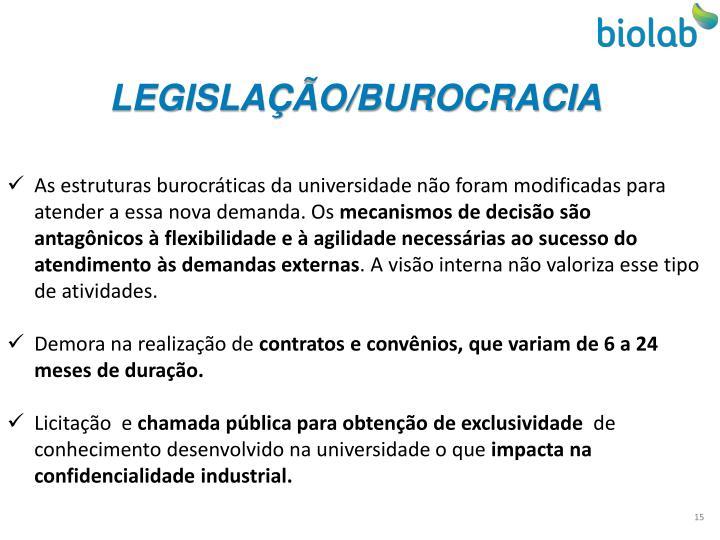 LEGISLAÇÃO/BUROCRACIA