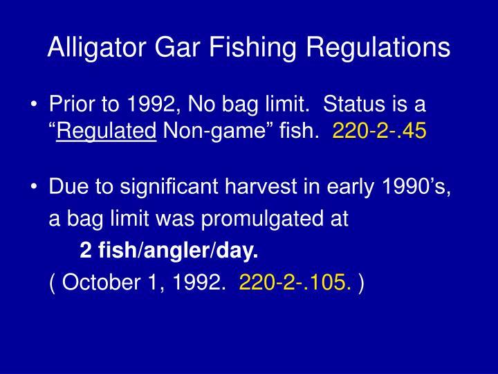 Alligator Gar Fishing Regulations