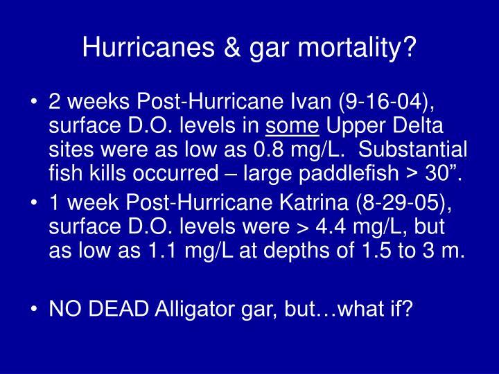 Hurricanes & gar mortality?