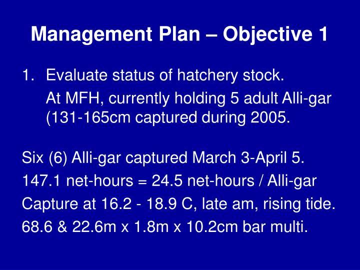 Management Plan – Objective 1
