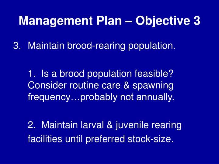 Management Plan – Objective 3