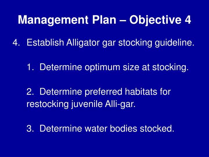 Management Plan – Objective 4