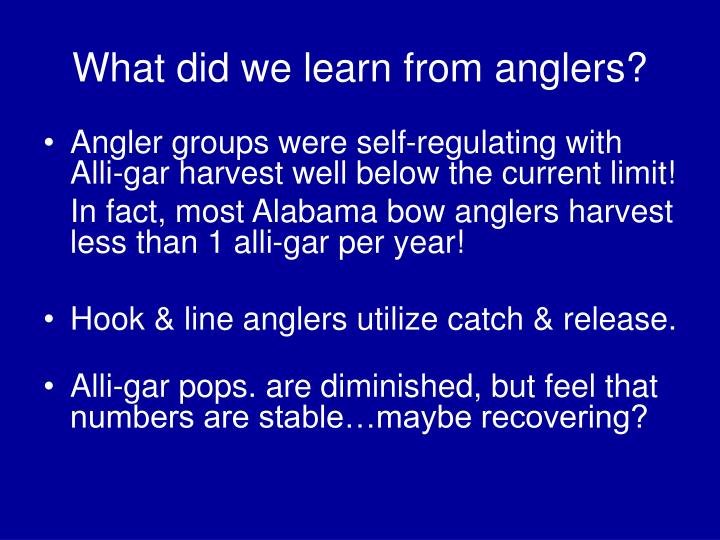 What did we learn from anglers?