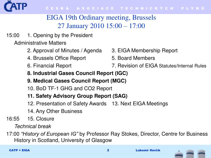 EIGA 19th Ordinary meeting, Brussels