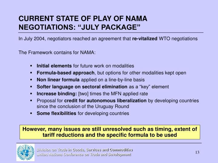 "CURRENT STATE OF PLAY OF NAMA NEGOTIATIONS: ""JULY PACKAGE"""