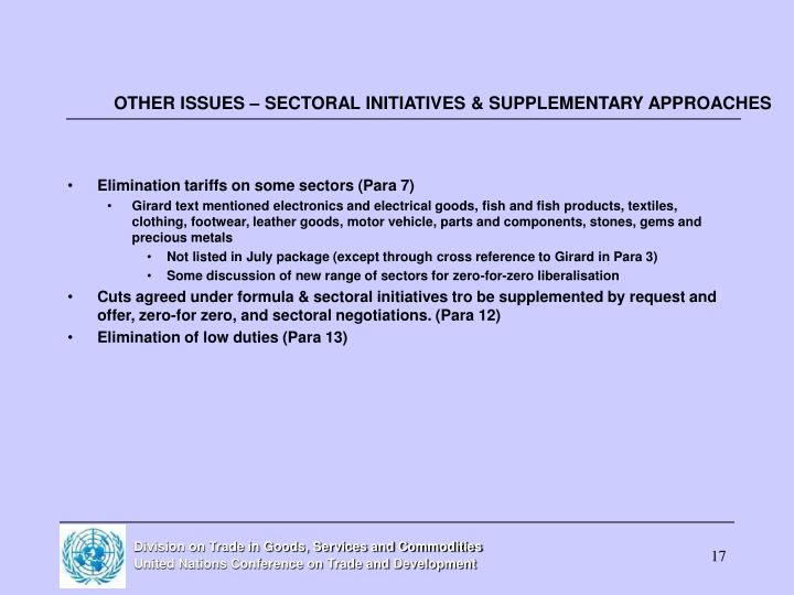 OTHER ISSUES – SECTORAL INITIATIVES & SUPPLEMENTARY APPROACHES