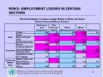 risks employment losses in certain sectors